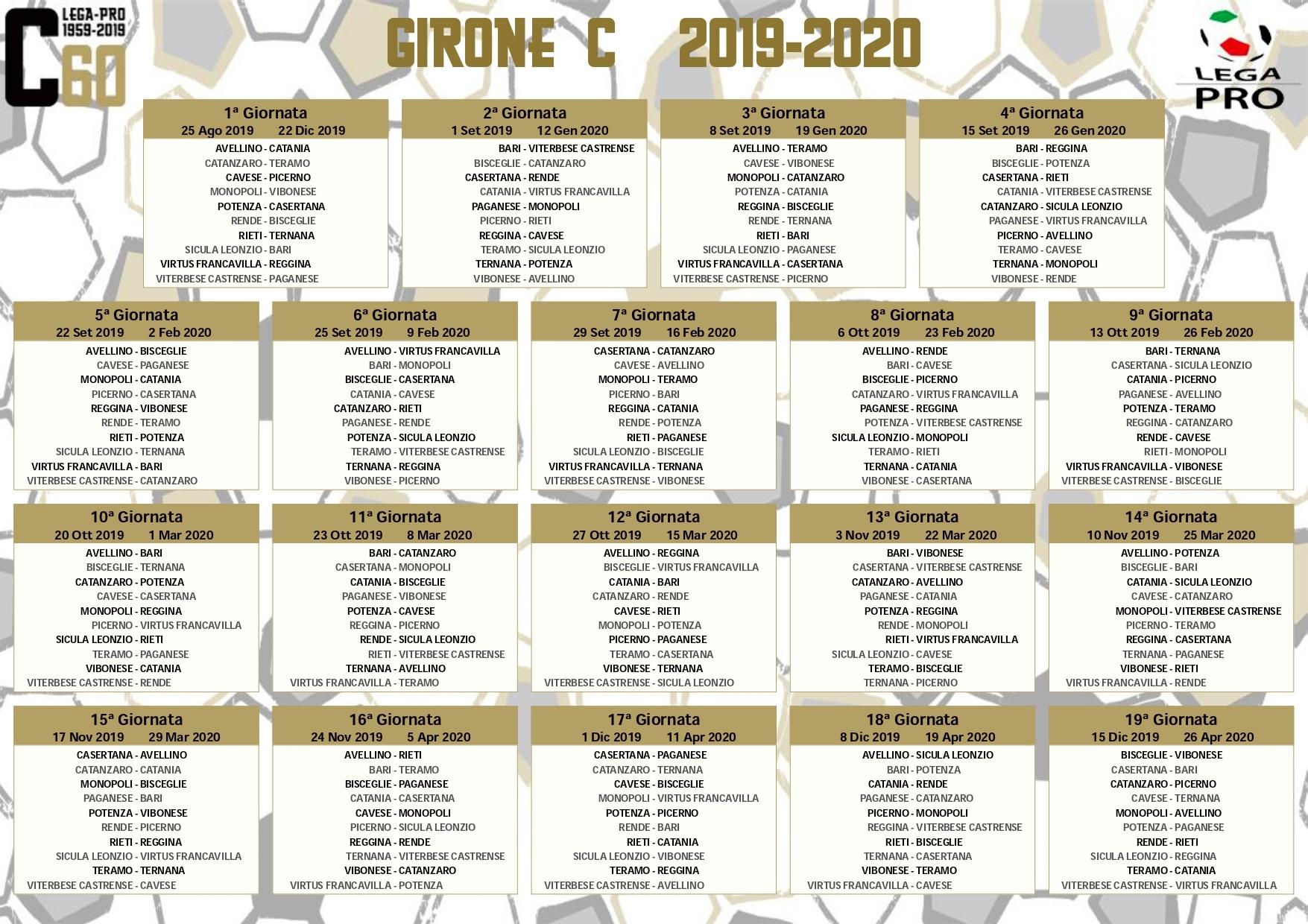 Calendario Lega Pro Girone B Orari.Ternana Il Calendario Del Campionato 2019 2020 Dei Rossoverdi
