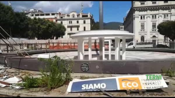 Piazza Tacito, bentornata fontana: il cuore di Terni ricomincia a battere